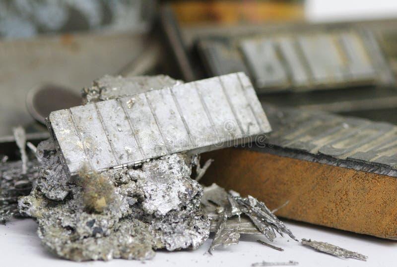 De spaandersclose-up van het linotypelood bij printshop stock fotografie