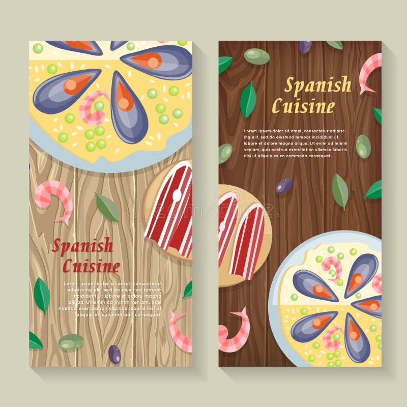 De Spaanse Banner van het Keukenweb paella Jamon tapas vector illustratie
