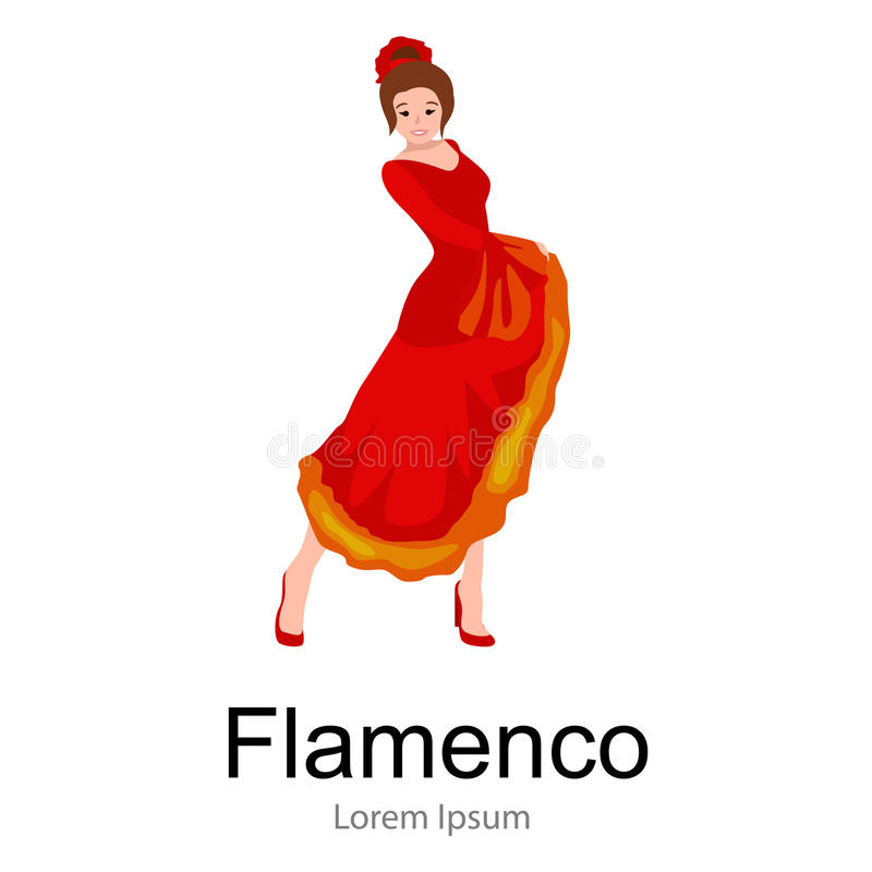 De Spaanse danser van het meisjesflamenco in rode kleding, mooie dans, het gelukkige sexy vrouw dansen vector illustratie