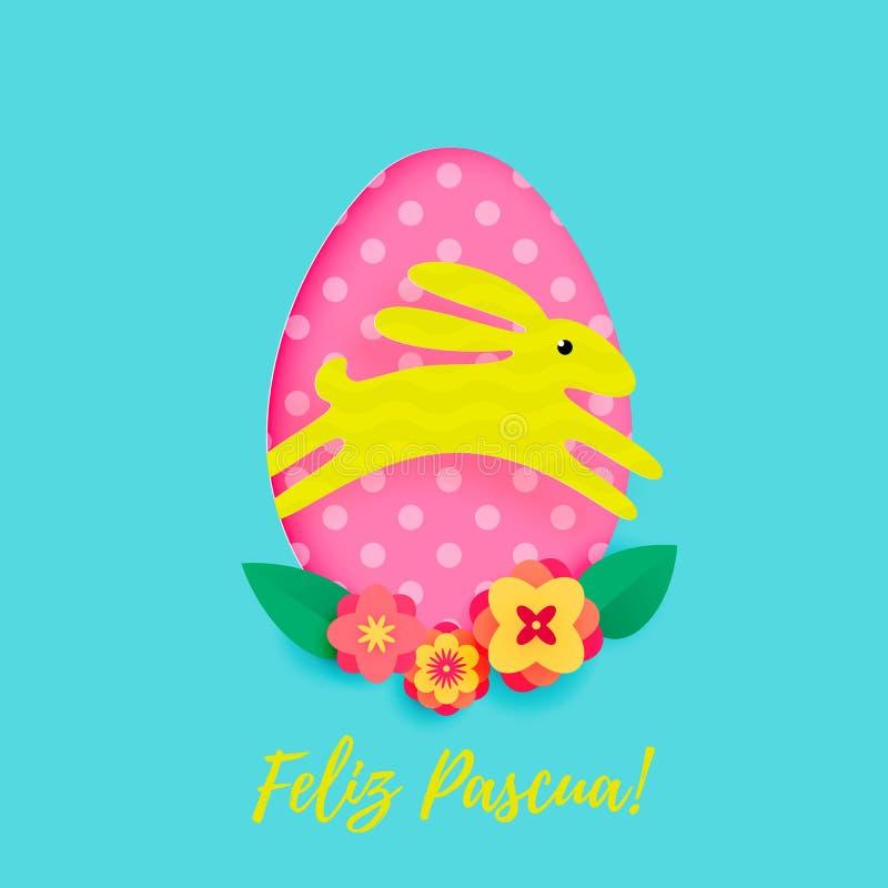 De Spaanse Gelukkige Pasen-groetkaart van ei met patroon en het document snijden beeldverhaalkonijntje op bloemenachtergrond Vect vector illustratie