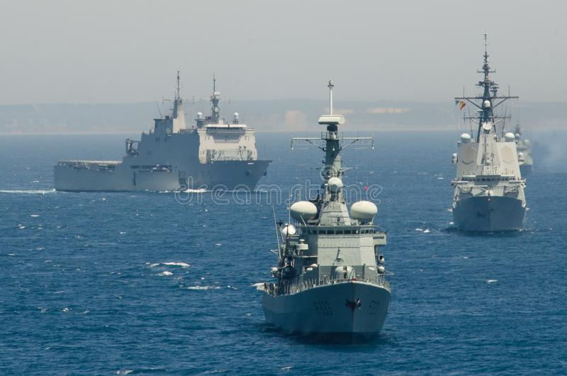 De Spaanse Marine leidt zeeoefeningen stock foto's