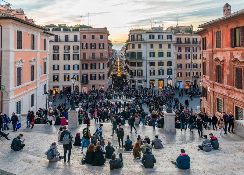 De Spaanse Stappen in Rome stock foto's