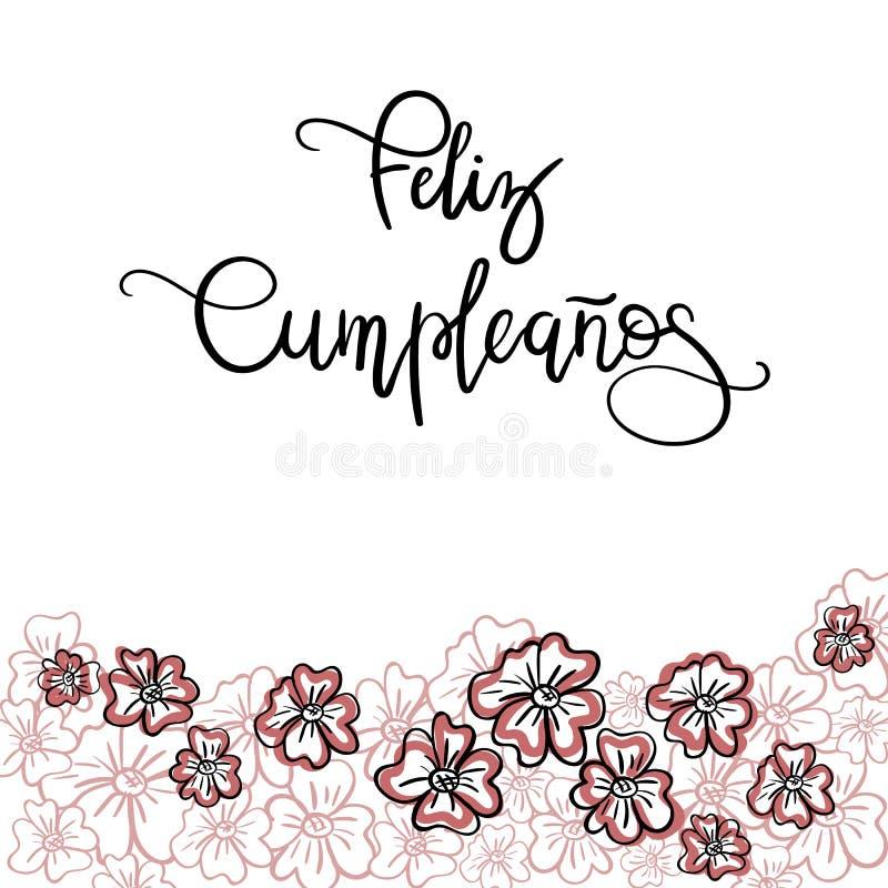 De Spaanse tekst van Feliz Cumpleanos Happy Birthday vector illustratie