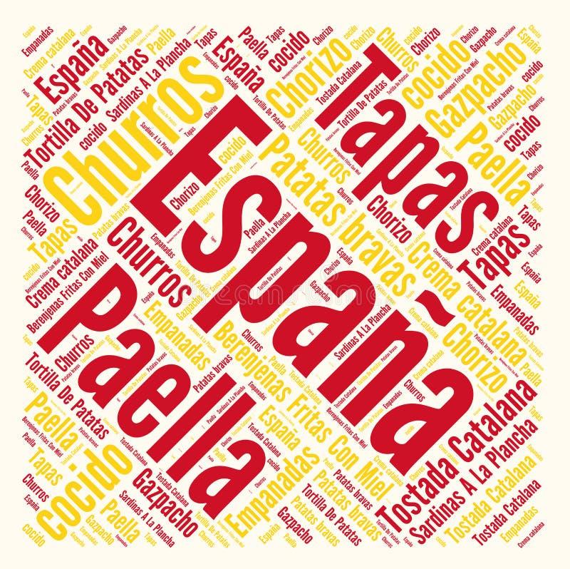 De Spaanse wolk van het keukenwoord royalty-vrije illustratie