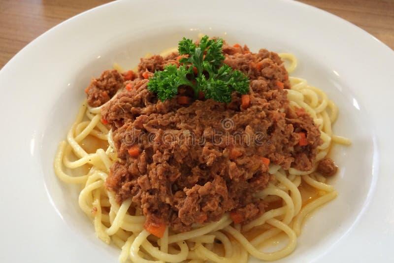 De spaghetti van de rundvleessaus royalty-vrije stock foto