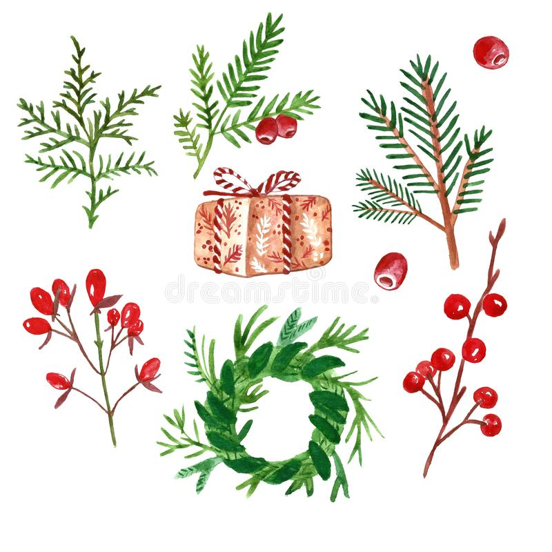 De spar en de pijnboom van de winterkerstmis stammen, groene installaties, takken en rode die bessen, op witte achtergrond worden stock illustratie