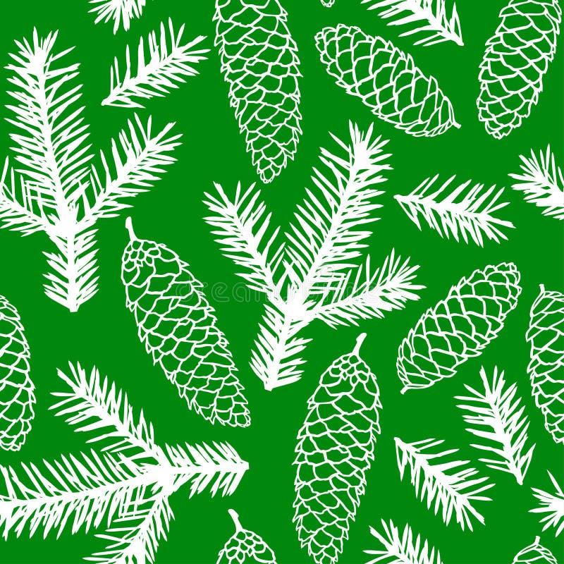 De spar vertakt zich naadloos patroon vector illustratie