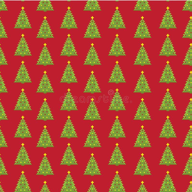 De sparren naadloze achtergrond van het pixel nieuwe jaar stock fotografie