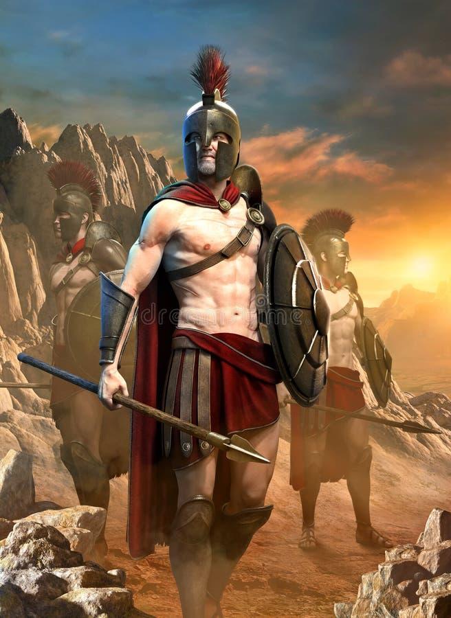 De Spartaanse 3D illustratie van de strijdersscène royalty-vrije illustratie