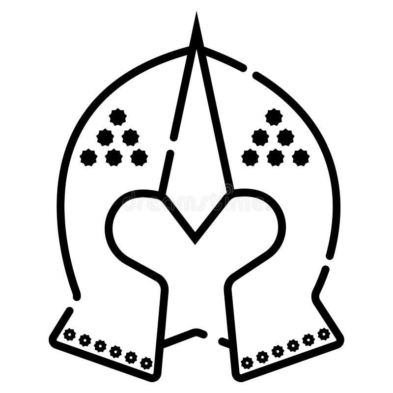 De Spartaanse vectorillustratie van het helmpictogram royalty-vrije illustratie