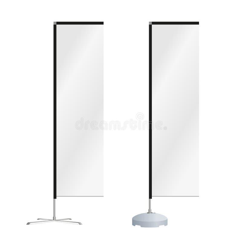 De spatie boog de vlag van het reclamestrand of de verticale wind bannerBlank vierkante vlag van het reclamestrand of verticale w stock fotografie