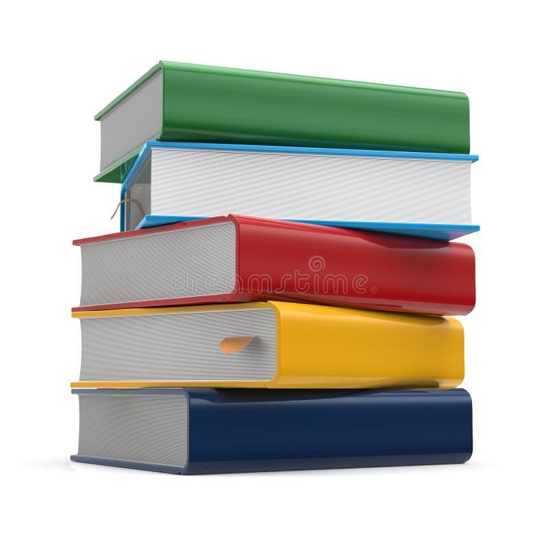 De spatie van de boekenstapel behandelt malplaatje van handboek het verschillende kleuren vector illustratie