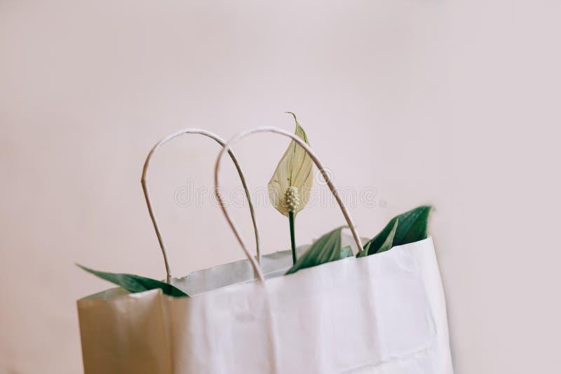de spatifilumbloemen in Witboekgift doen, springen bloemen op een witte geweven achtergrond in zakken op De ruimte van het exempl royalty-vrije stock foto