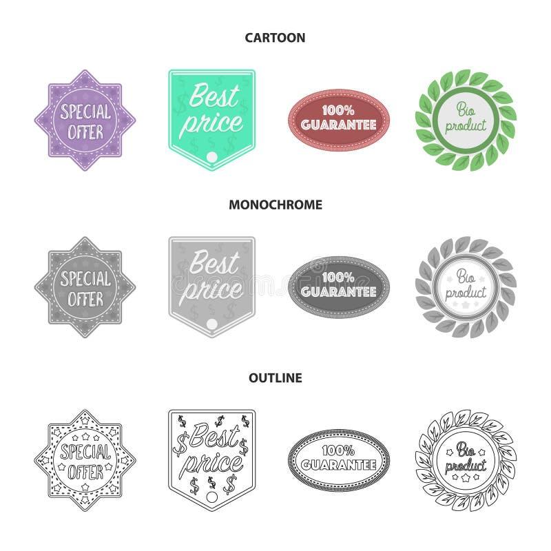 De speciale aanbieding, prise het best, waarborgt, bioproduct Etiket, vastgestelde inzamelingspictogrammen in beeldverhaal, overz vector illustratie
