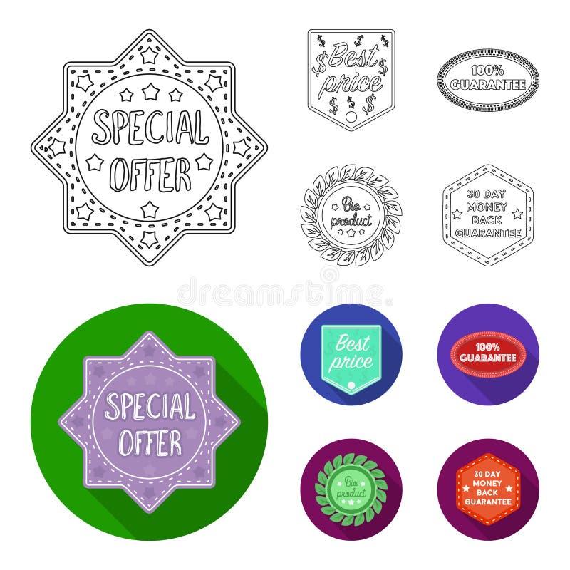 De speciale aanbieding, prise het best, waarborgt, bioproduct Etiket, vastgestelde inzamelingspictogrammen in overzicht, de vlakk stock illustratie