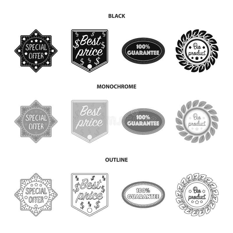 De speciale aanbieding, prise het best, waarborgt, bioproduct Etiket, vastgestelde inzamelingspictogrammen in de zwarte, zwart-wi stock illustratie