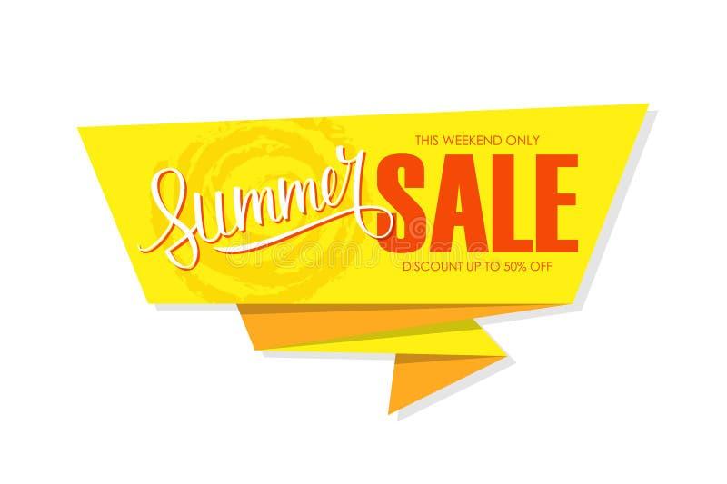 De speciale aanbiedingbanner van de de zomerverkoop met hand het van letters voorzien Dit weekend slechts, korting tot 50% weg vector illustratie