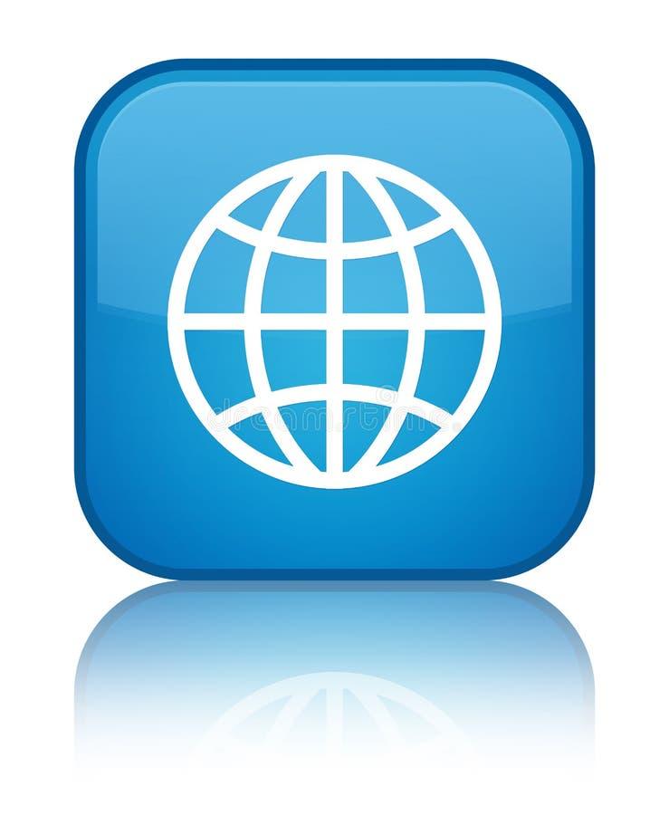 De speciale cyaan blauwe vierkante knoop van het wereldpictogram vector illustratie