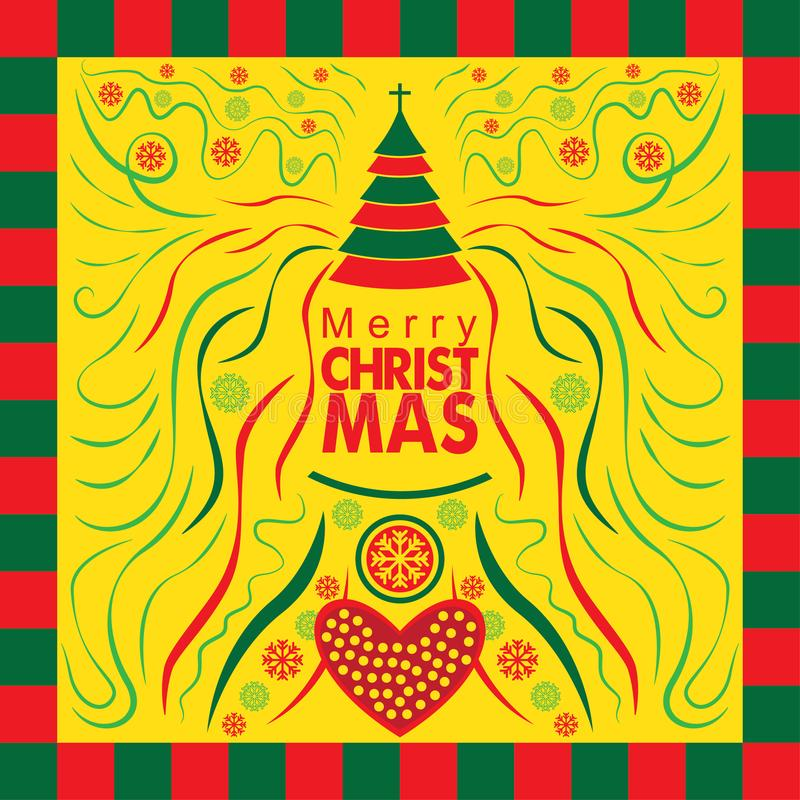 De speciale Kaart van de Kerstmisgroet met Abstracte Stijl stock afbeeldingen