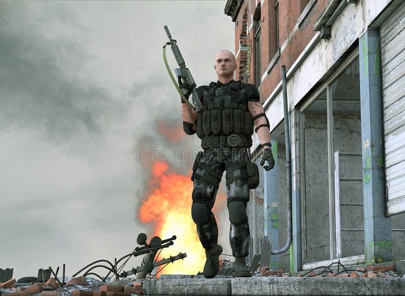 De speciale militair van het krachtenleger - videospelletje royalty-vrije illustratie