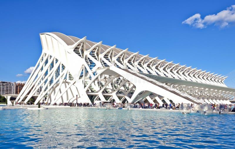De spectaculaire architectuur van het wetenschapsmuseum, Valencia, Spanje royalty-vrije stock afbeeldingen
