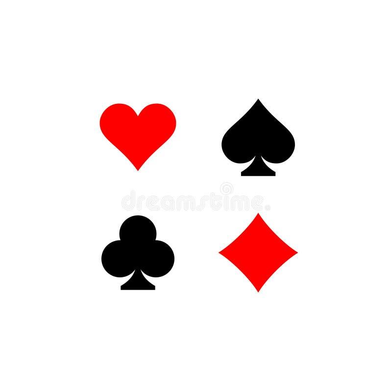 De speelkaart past geplaatste tekens aan Vier kaartsymbolen royalty-vrije illustratie