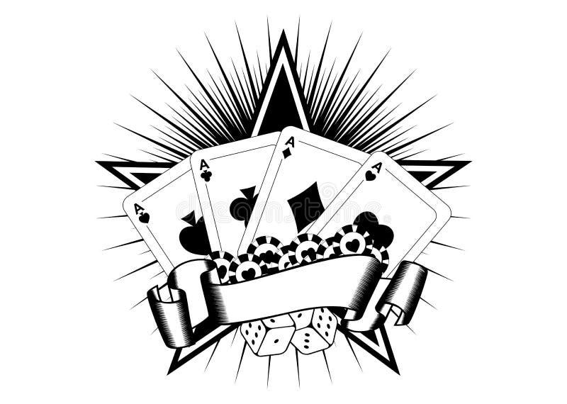 De speelkaarten dobbelen spaanders stock illustratie