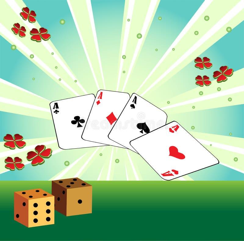 De speelkaarten en dobbelt royalty-vrije illustratie
