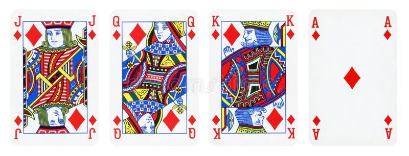De Speelkaarten van het diamantenkostuum, Reeks omvatten Koning, Koningin, Hefboom en Ace stock illustratie