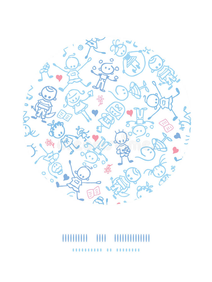 De speelkinderen omcirkelen de achtergrond van het decorpatroon stock illustratie