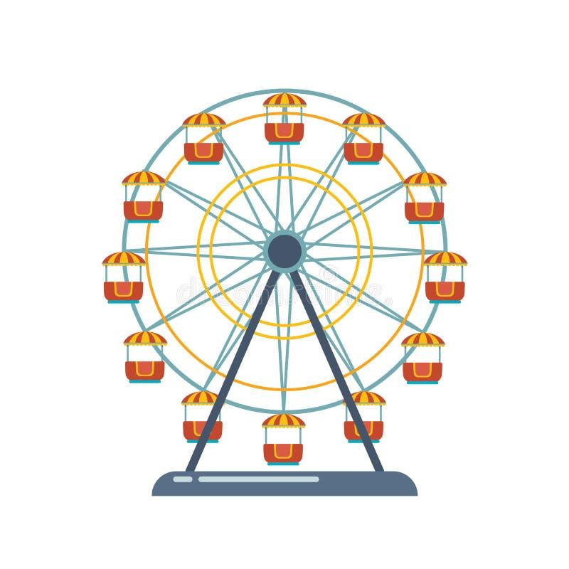 De speelplaats van het kinderen` s vermaak, recreatiepark Funfair met ferriswiel vector illustratie