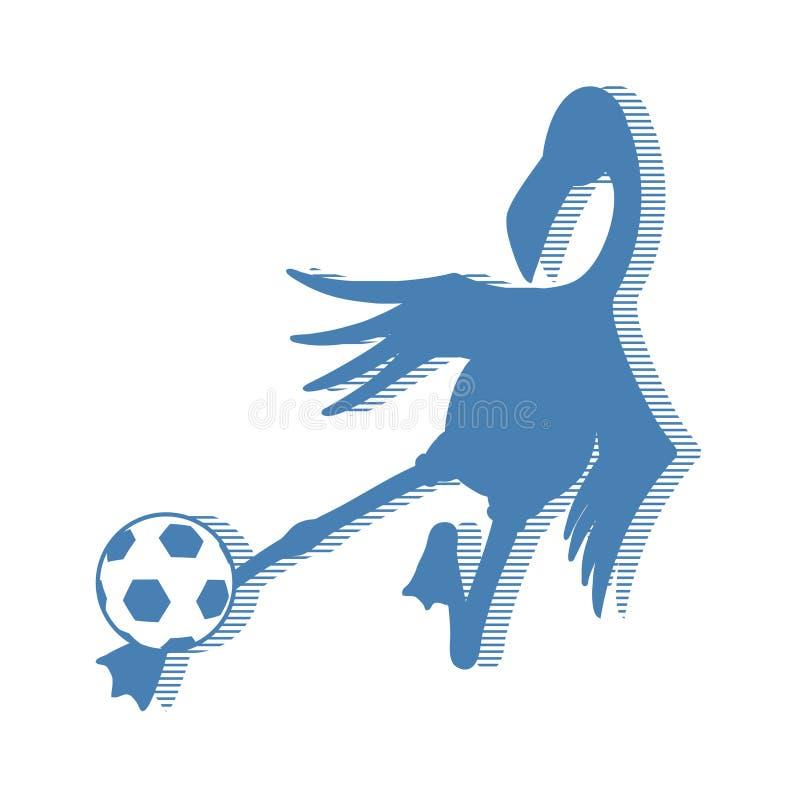 De speelvoetbal van de flamingovogel vector illustratie