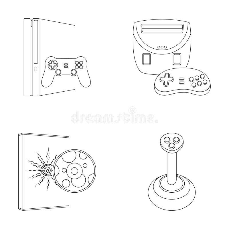 De de de spelconsole, bedieningshendel en schijf schetsen pictogrammen in vastgestelde inzameling voor ontwerp Web van de het sym stock illustratie