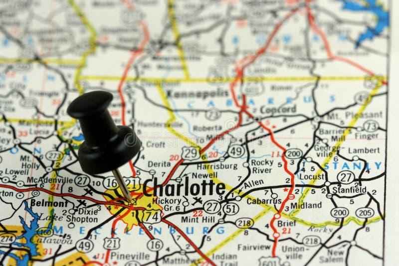 De speld van de duw in Charlotte stock afbeelding