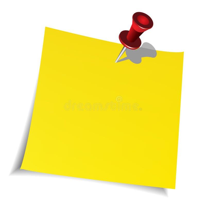 De speld van de duw en document nota royalty-vrije illustratie