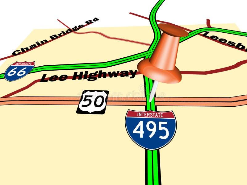 De speld van de duw op wegenkaart in perspectief vector illustratie