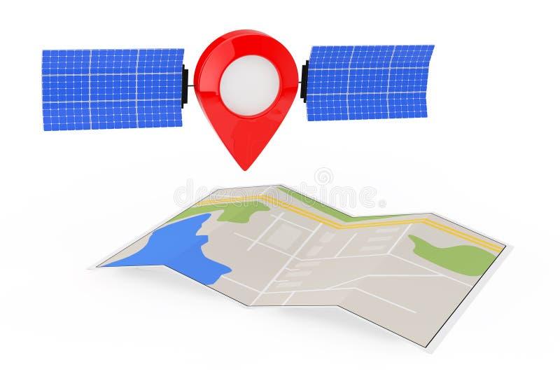 De Speld van de kaartwijzer als Satelliet over Gevouwen Abstracte Navigatiekaart vector illustratie