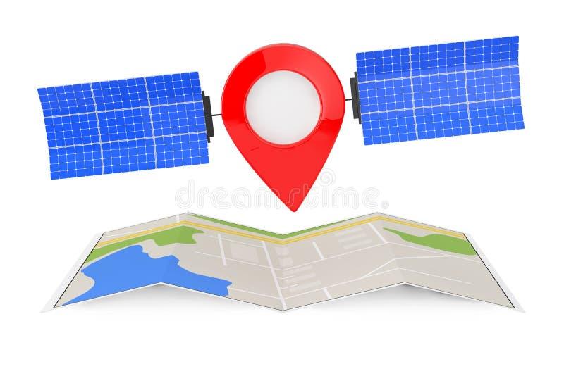 De Speld van de kaartwijzer als Satelliet over Gevouwen Abstracte Navigatiekaart stock illustratie