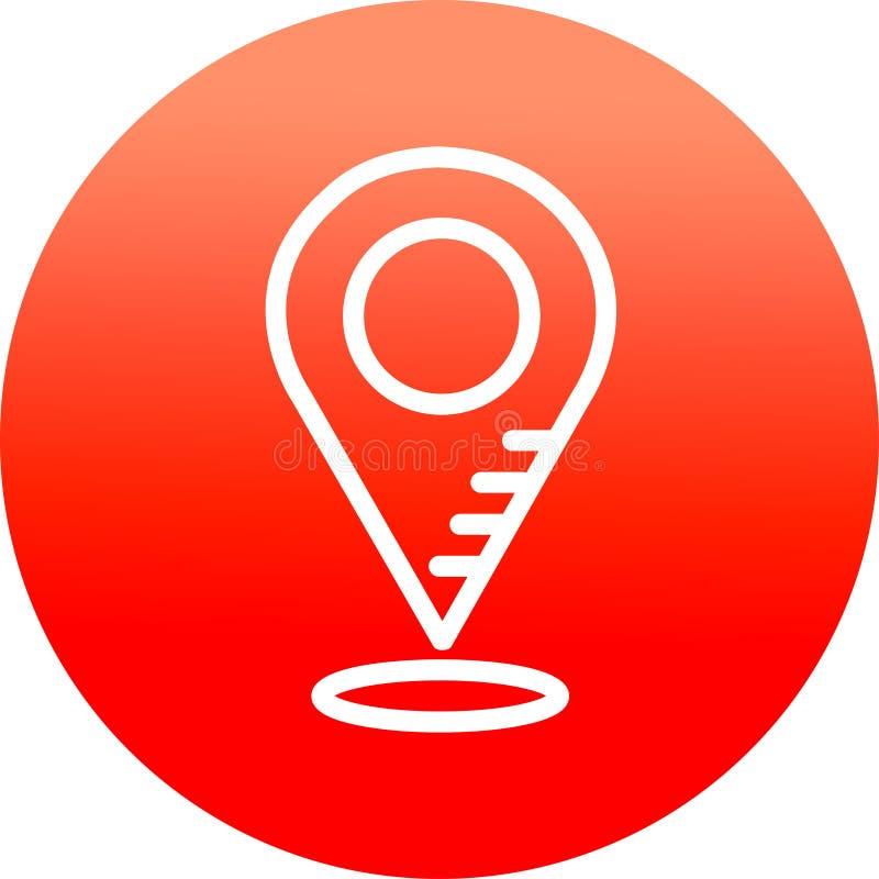 De spelden van de pictogramkaart, plaats geïsoleerd op rode cirkelachtergrond vector illustratie
