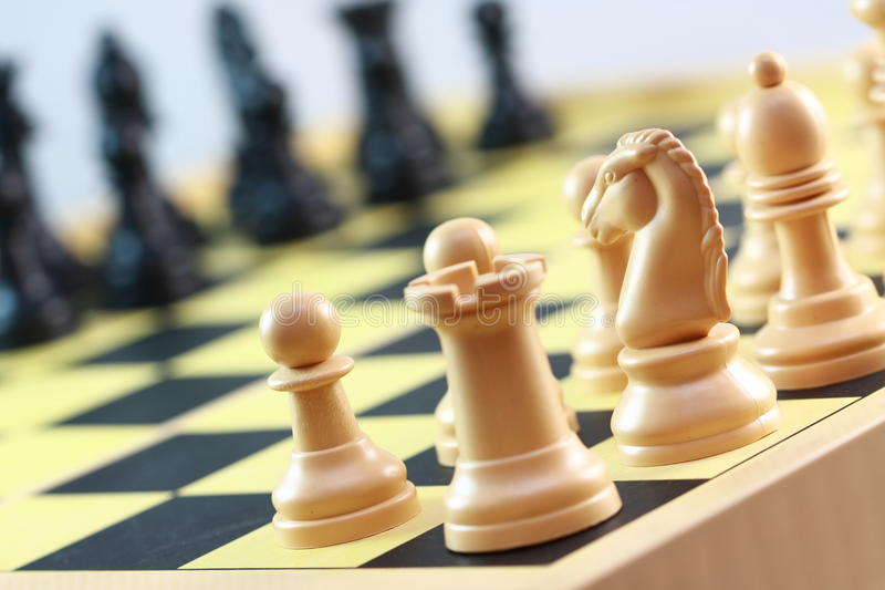 De spelen van de schaakraad stock foto's
