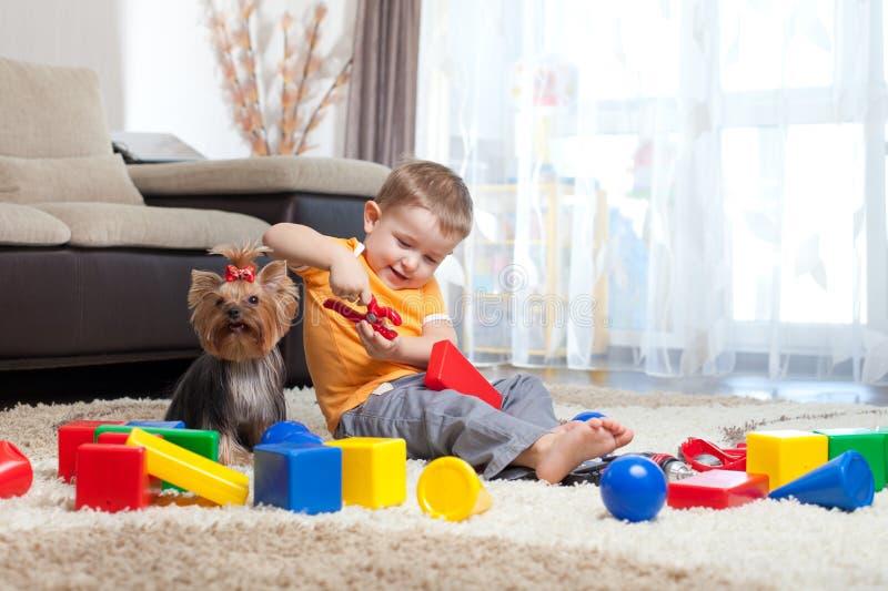 De spelen van het kind met hond en bouwstenen thuis royalty-vrije stock foto