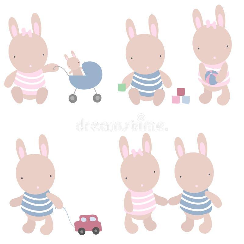 De spelen van het konijn stock illustratie