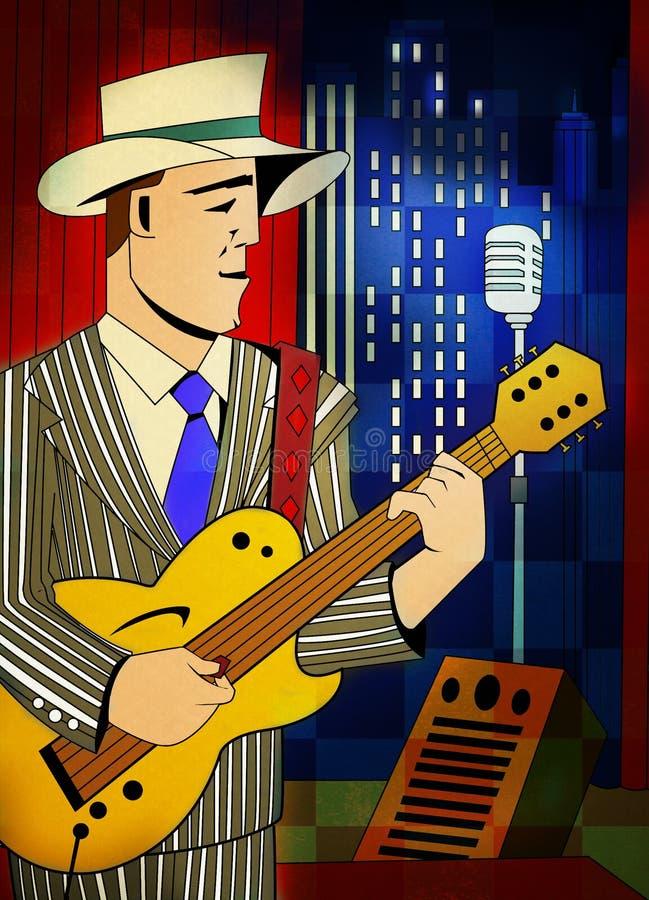 De spelengitaar van de jazzmusicus royalty-vrije stock afbeeldingen