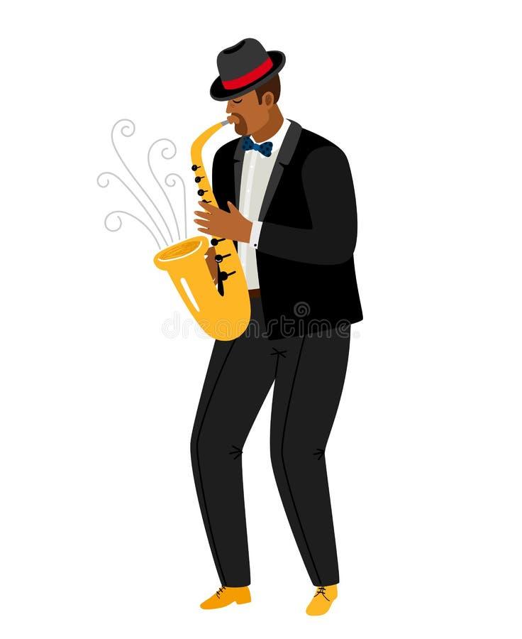 De spelensaxofoon van de jazzsaxofonist op wit wordt geïsoleerd dat vector illustratie