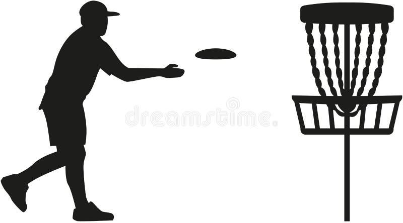 De speler die van het schijfgolf een schijf in de mand werpen royalty-vrije illustratie
