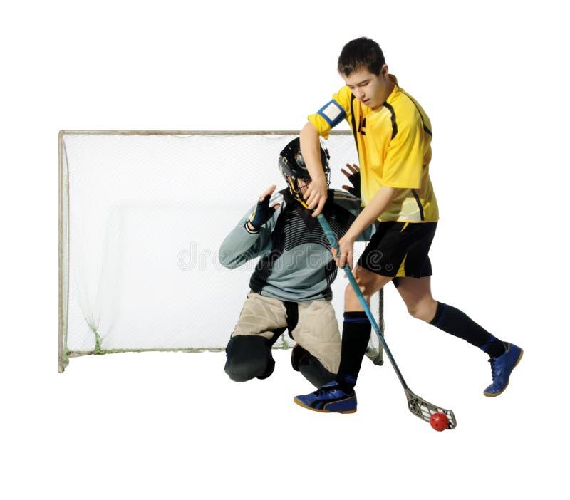 De speler en de keeper van Floorball stock fotografie