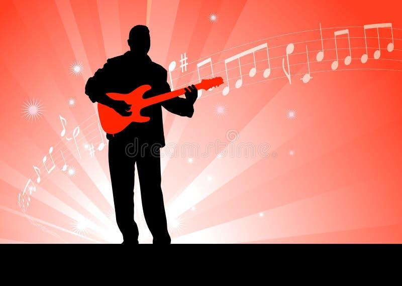 De Speler van de gitaar op Rode Achtergrond vector illustratie