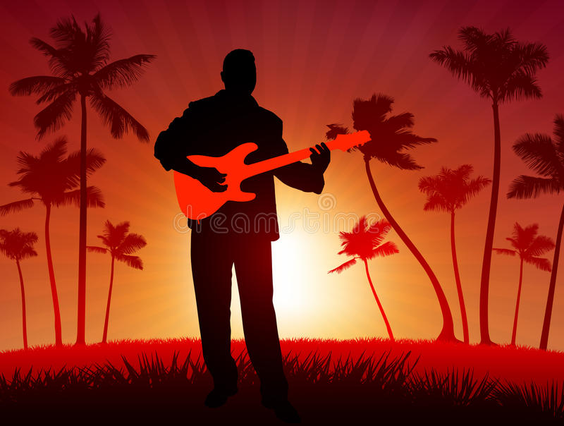De speler van de gitaar op tropische zonsondergangachtergrond stock illustratie