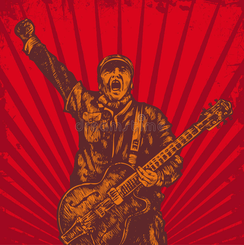 De speler van de gitaar in retro stijl vector illustratie