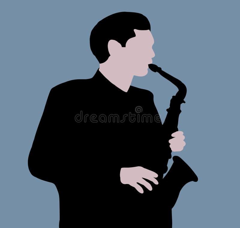 De speler van de saxofoon royalty-vrije illustratie
